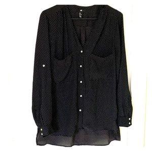 H&M 10 work blouse top black white polka dots M